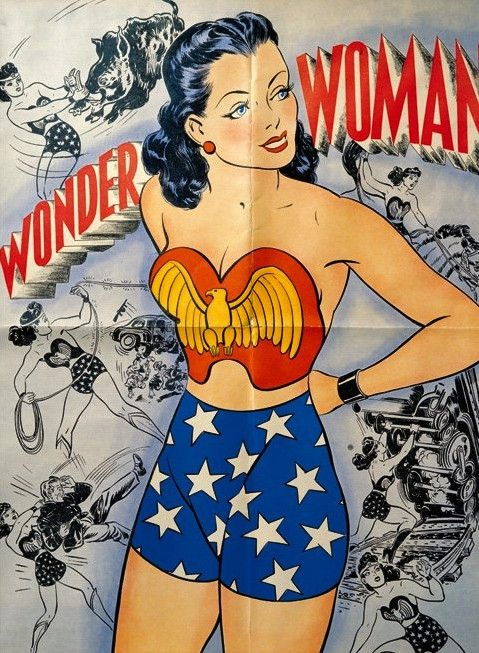 Vintage H. G. Peter Wonder Woman Poster Comic Art