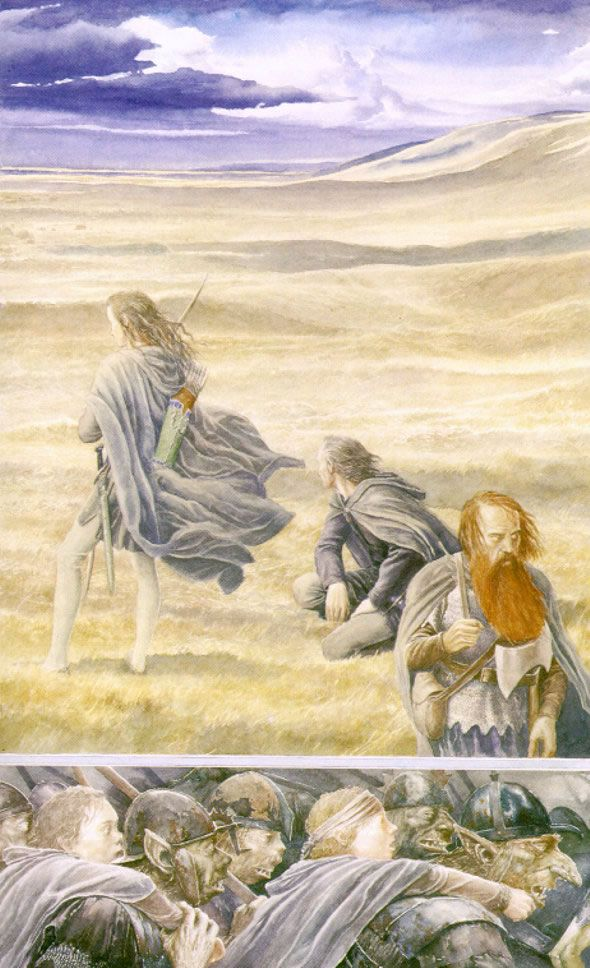 Alan Lee - the chase between Aragorn, Gimli and Legolas and the orcs