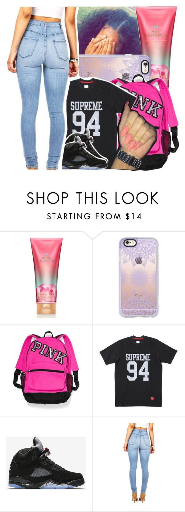 """""""My style doin damage, diamonds they dancin"""" by theyknowtyy ❤ liked on Polyvore featuring Victoria's Secret, Casetify and NIKE"""