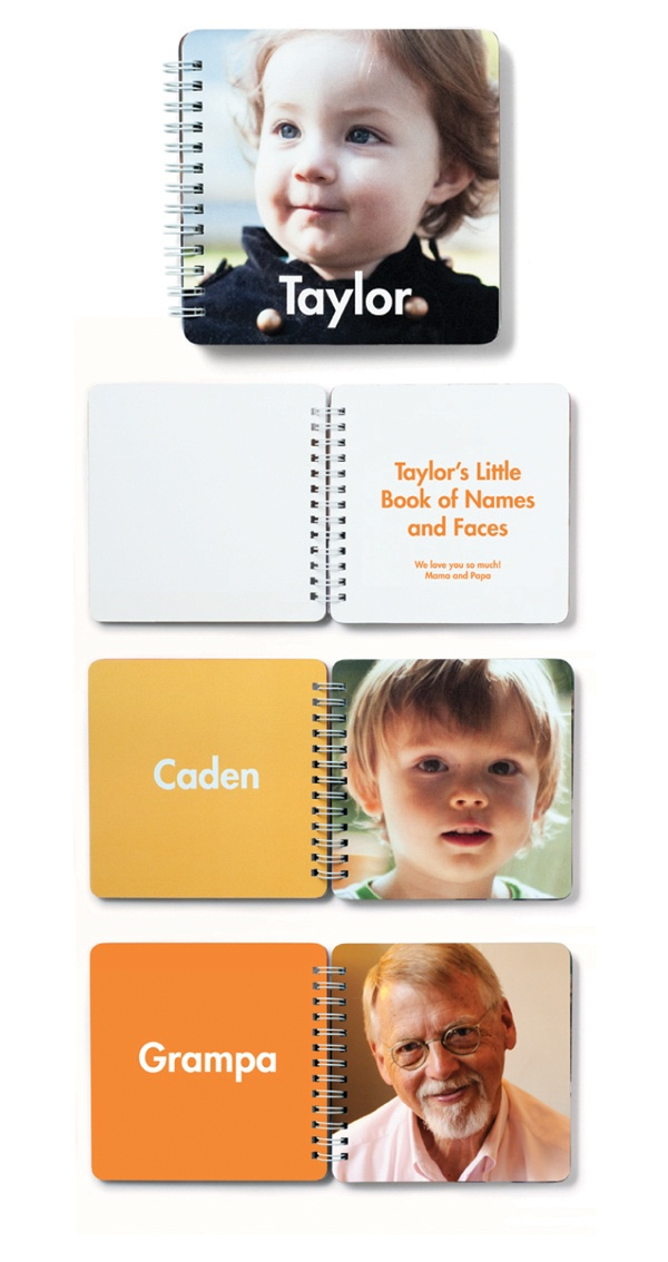 Mini Names and Faces - I'm making one a couple of these for my girls, who are still working on knowing the names of their cousins! (#mommyfail))
