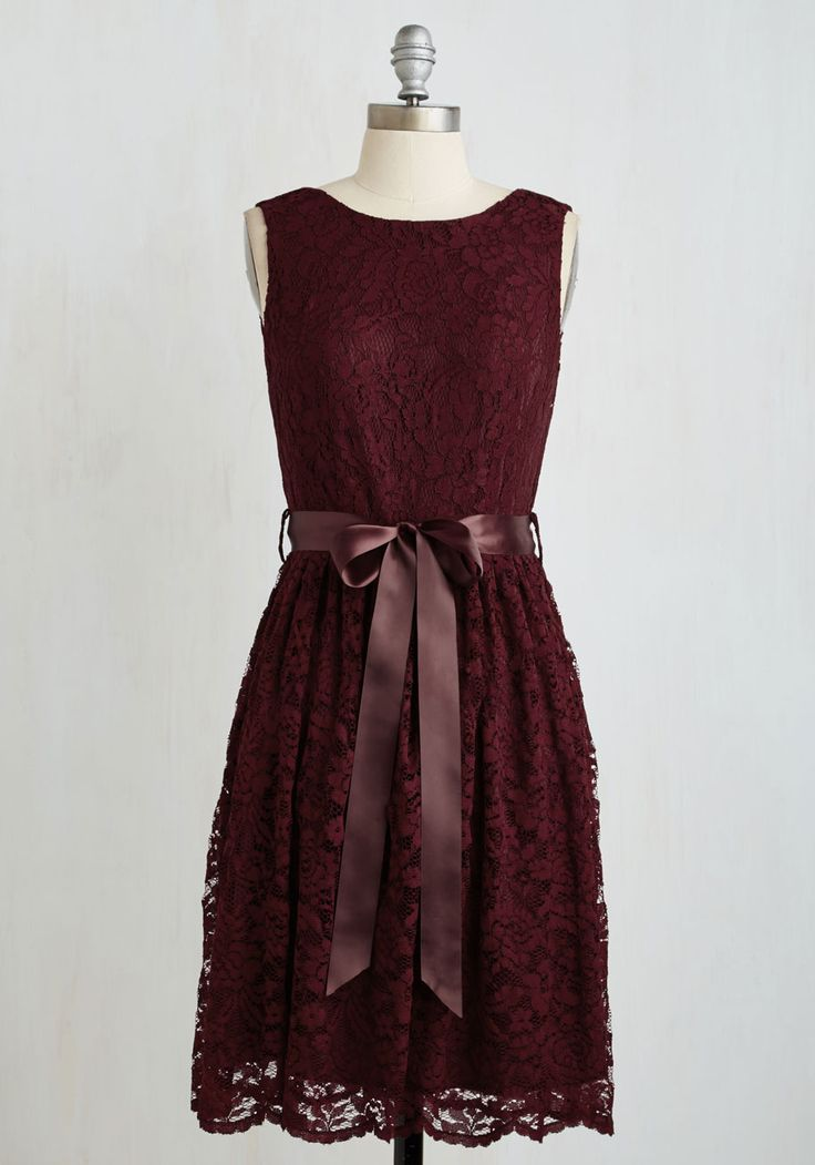 Fall Wedding Guest Dresses | Dress for the Wedding Chocolate brown and lace with scallop hem