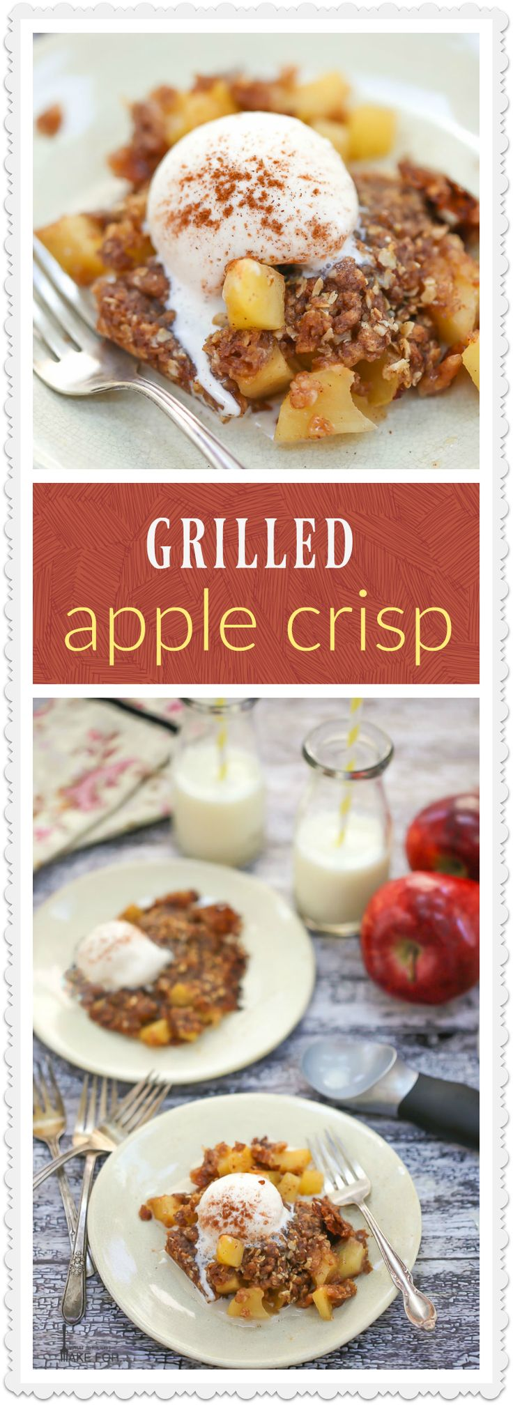 Perfect for camping or tailgating, a grilled apple crisp in a foil pack is a…
