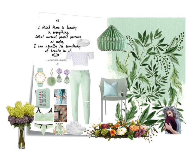 """""""SWEET WITH GREEN"""" by ymayler ❤ liked on Polyvore featuring Post-It, Dorothy Perkins, 7 For All Mankind, Emma Lomax, Kate Spade, Wild & Wolf, Nearly Natural, Kartell, René Rofé and Ross-Simons"""