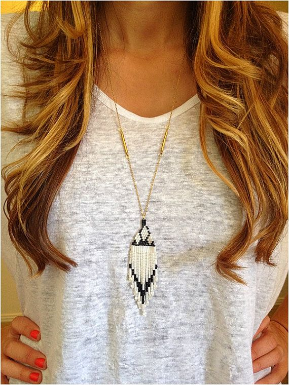 Vintage Beaded Tassel Necklace -Navajo Style