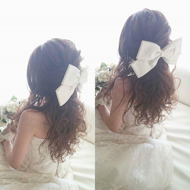 ハーフアップ♡  #ブライダル #熊本 #ヘアアレンジ #熊本ヘアセット #osumiブライダル  #結婚式準備 #プレ花嫁 #ヘアメイク #ブライダルヘア  #ウェディング #hair #hairstyle
