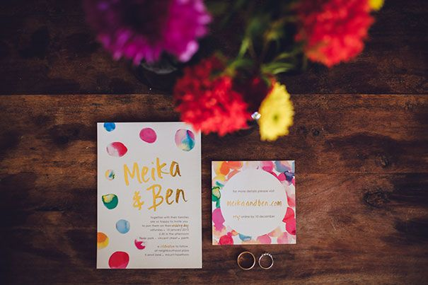 MEIKA + BEN // #wedding #stationary #paper #invitations #savethedate #envelope #rsvp #invite #ceremony #reception #bright #colourful #watercolour