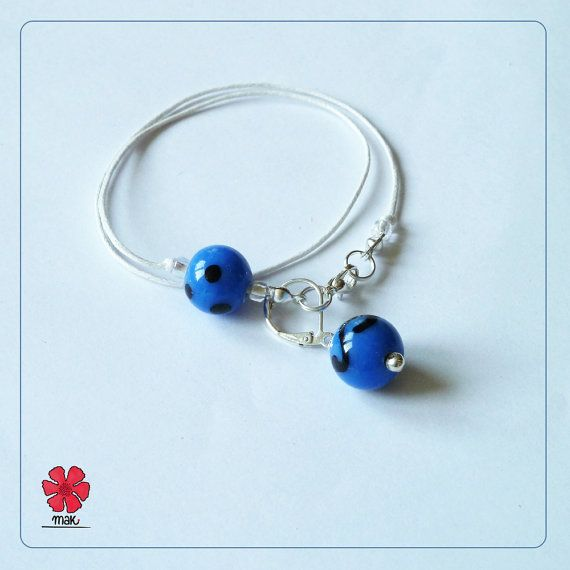 NEW summer 2014 collection ~ MAK  Sapphire beads 3 in 1 bracelet + bookmark + stitch marker by Cathliin from prawelewe. Published in Seven Rainbows.