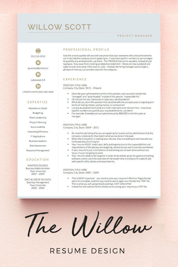 Modern Resume Template For Word Pages Modern Cv Template Etsy Resume Template Resume Design Creative Resume Templates