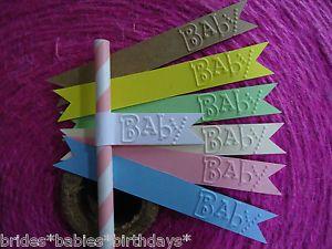 10 Straw Sparkler Flags Embossed Baby Shower Christening Baptism B N | eBay