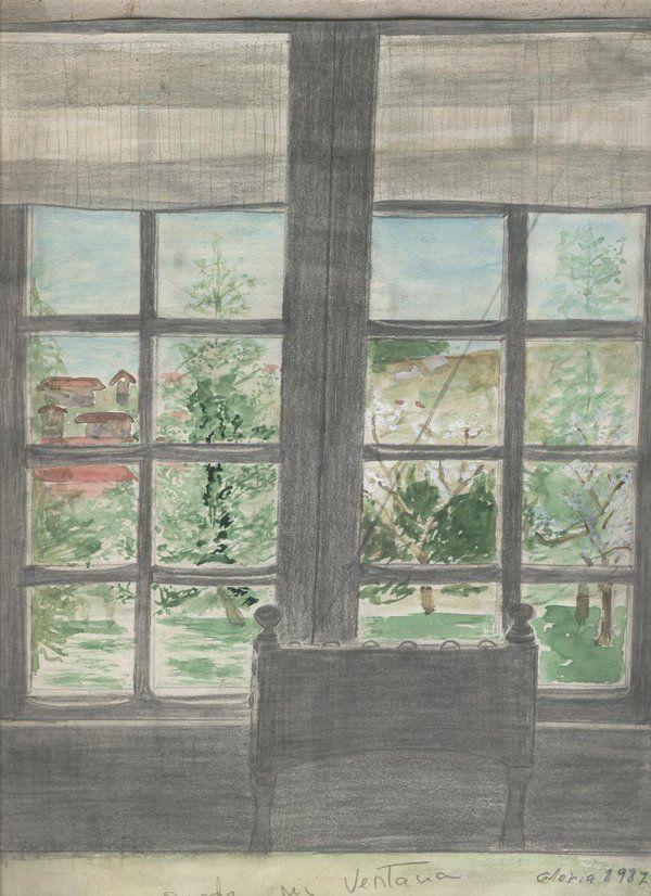 Desde mi ventana; lapicero y acuarela