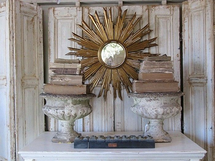antiques-books-urns-planters-weathered-sunburst-mirror-gilded-doors-shutters-chipped-peeling-paintVignettes, Decor, Old Book, Antiques Book, Sunburst Mirrors, Interiors Design, French Vintage, Accessories, French Home