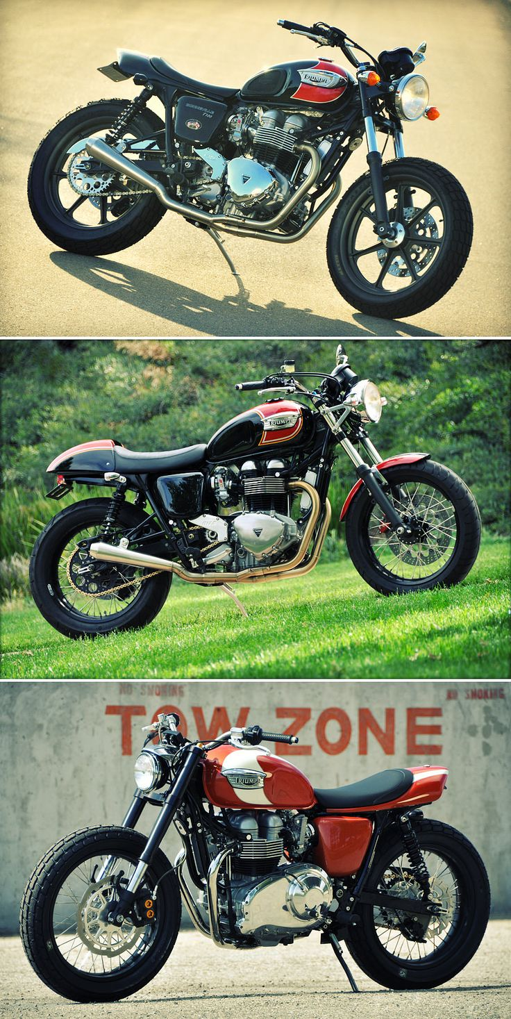 Three amazing new high-performance custom Triumph motorcycles from legendary US builder Mule. Which one's your favorite? Read our story at http://www.bikeexif.com/custom-triumph-motorcycles