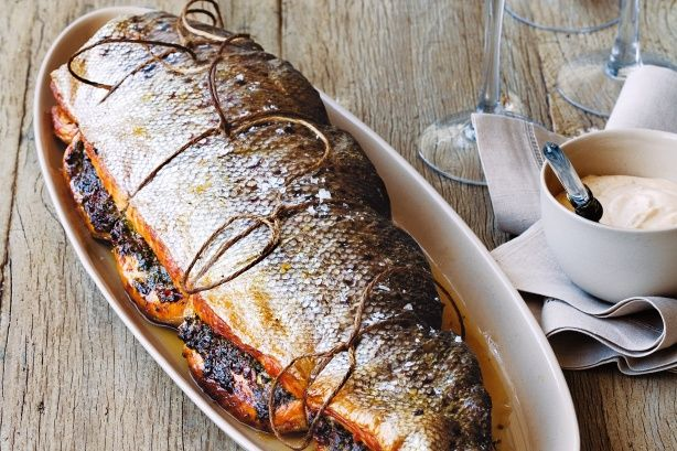 Harissa-roasted salmon with sumac mayonnaise