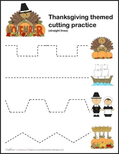 FREE Thanksgiving Cutting Practice Worksheets - Frugal Homeschool Family
