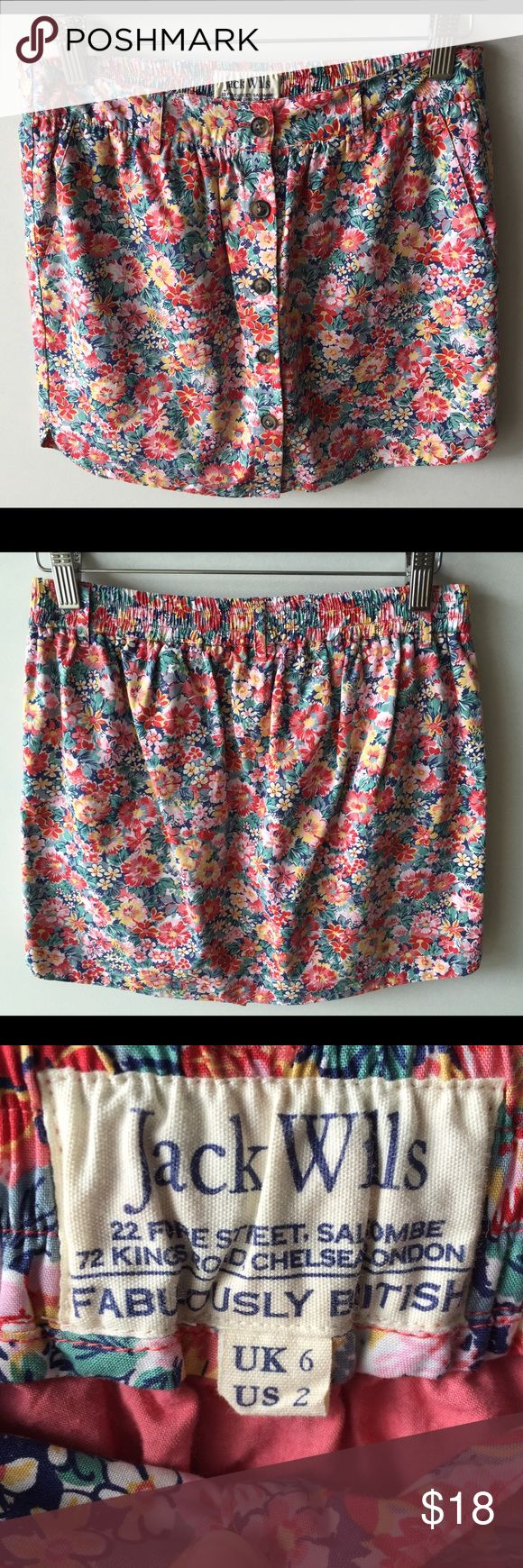 Jack Wills J. Crew Floral Button Brandsbury Skirt Adorable cotton mini skirt by Jack Wills for J. Crew. Button up front detail and overall floral pattern. This skirt is called the Brandsberry Skirt and the color is called blossom floral. Originally retailed for $79.50. Women's US size 2 or UK size 6. Great condition. Jack Wills Skirts Mini