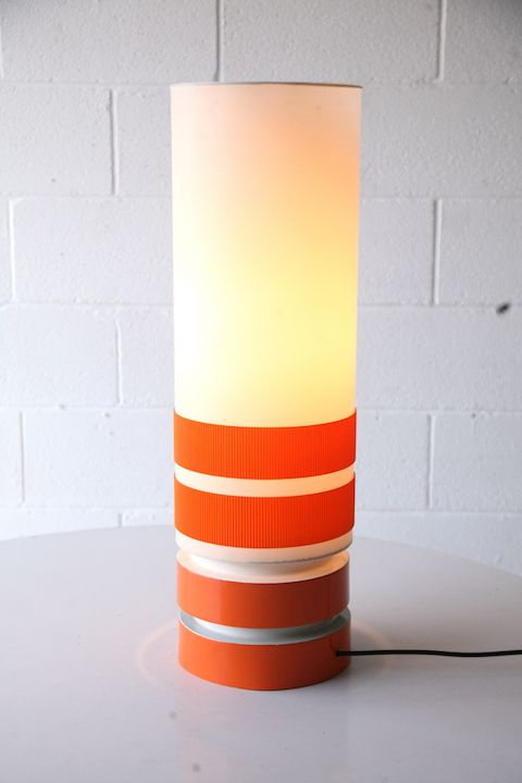 1970s Orange Table Lamp and Shade 3