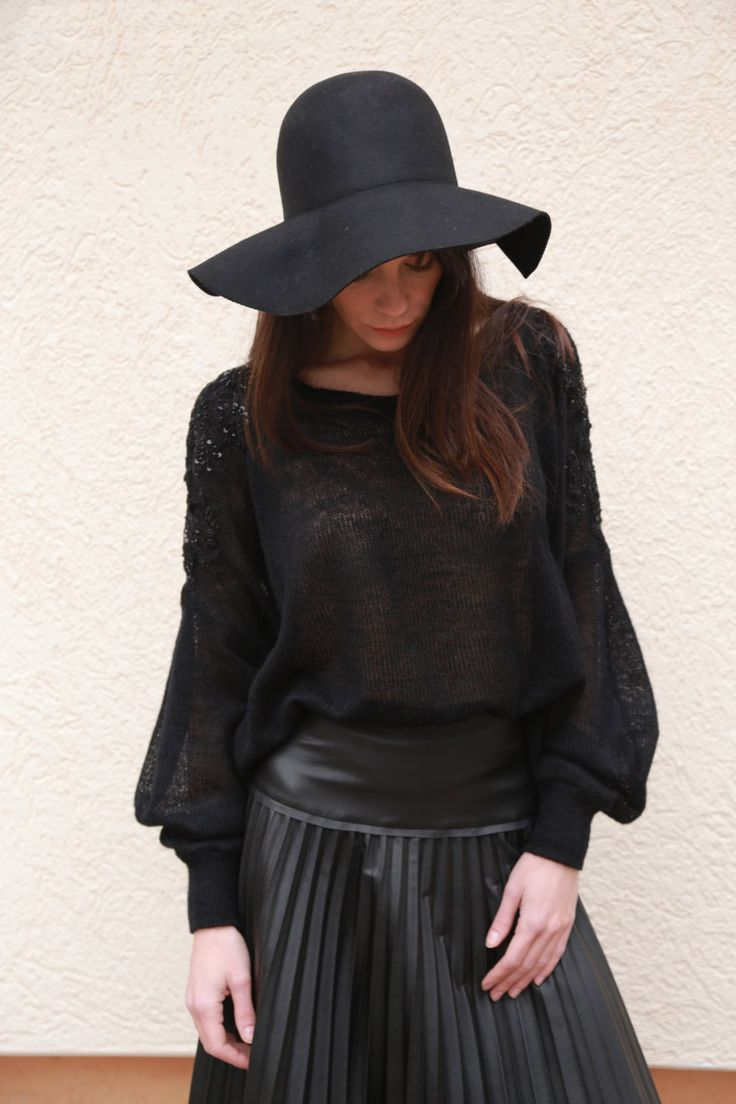 Black Asymmetrical Sweater/Cozy Pullover/ Embellished