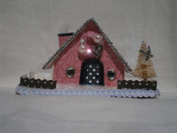 Putz Style Love Shack 1 Cottage by Sugarbirdholiday on Etsy.  Putz House