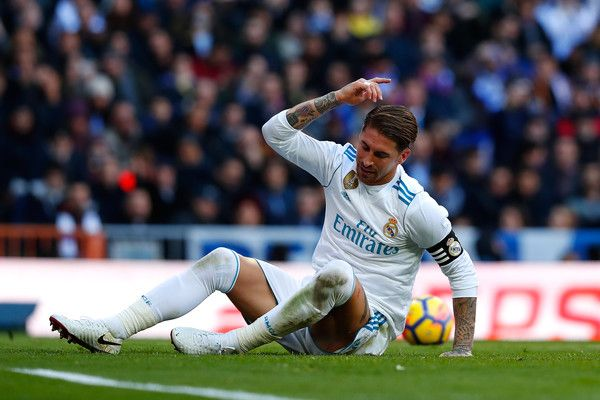 Sergio Ramos of Real Madrid reacts during the La Liga match between Real Madrid and Barcelona at Estadio Santiago Bernabeu on December 23, 2017 in Madrid, Spain.