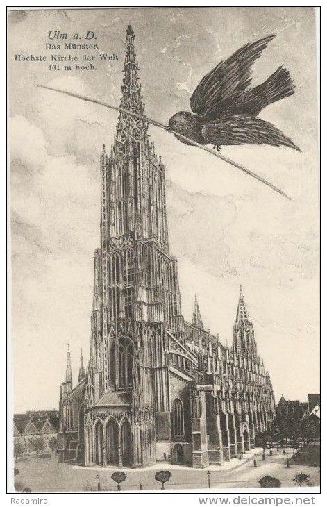 """Alte Ansichtskarten """"Ulm a. D. Das Münster Höchste Kirche der Welt 161 m hoch"""" Deutschland. Старинная ОТКРЫТКА  «Кирха в Мюнстере» Германия. Начало ХХ века Самая высокая кирха в городе Мюнстер - 161 метр."""
