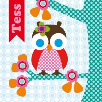 geboortekaart meisje, met uil op tak, leuk geboortekaartje voor een 2de of 3de kindje.