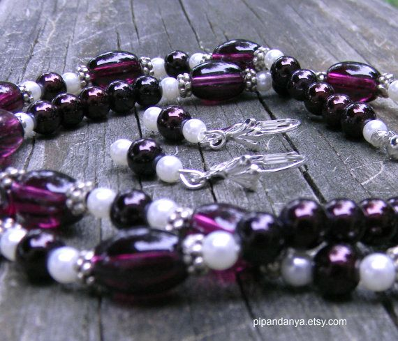 Glass Bead and Pearl Necklace Set Purple Glass Bead by PipandAnya, $15.00