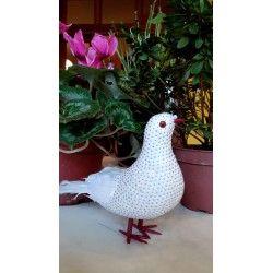 #Colomba bianca con penne nelle ali e nella coda su #Matea.it