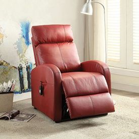 The Ricardo collection recliner with red has power recliner & lift functions, includes power wired controller to adjust multiple positions from seating position, reclined to lift position, and tight Back and seat cushion. This collection is perfect for your living room. Product Features Power Recliner & Lift Functions Tight Back/Seat Cushion Arm: Curved Track