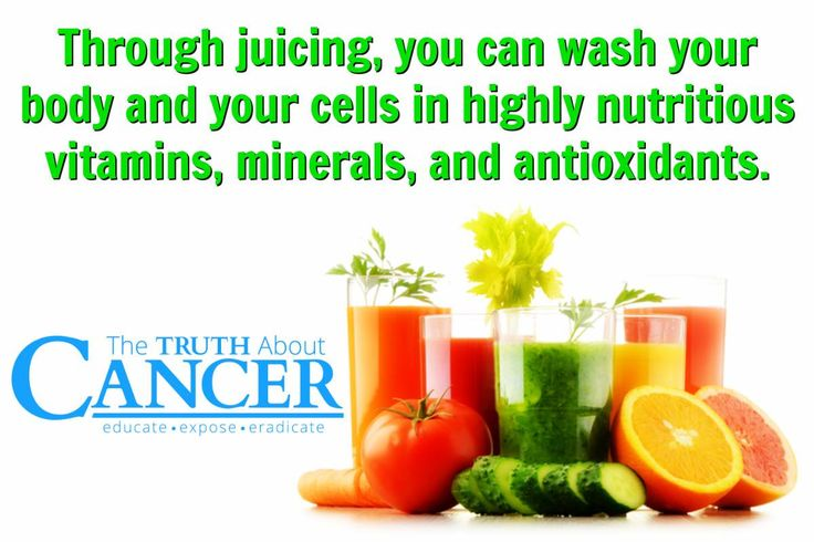 "YES!!! ""Through juicing, you can wash your body and your cells in highly nutritious vitamins, mineral, and antioxidants."" Please re-pin to share with your family & friends! Together we can educate the world with life-saving knowledge! // The Truth About Cancer <3"