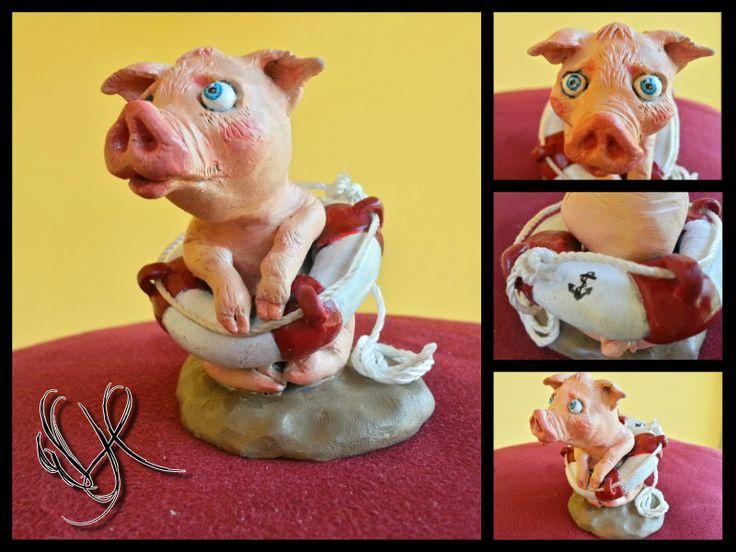 pig handmade polymer clay https://www.facebook.com/Whitewolf.handmade