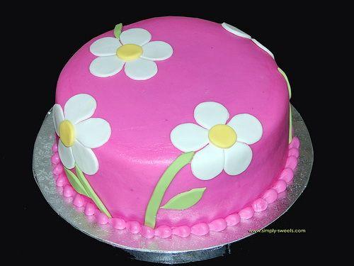 Cumpleaños Rosa Pastel Flores Sorprendentes Torta De