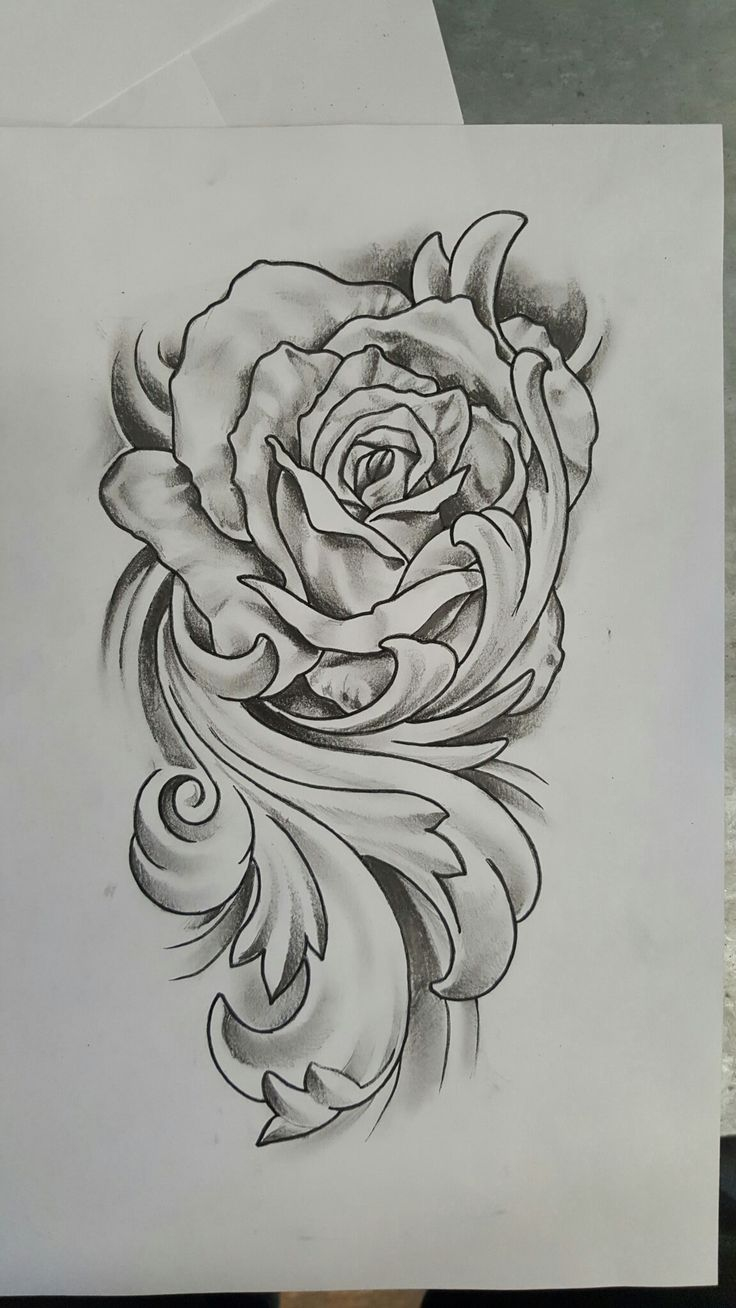 Rose with flourish tattoo design
