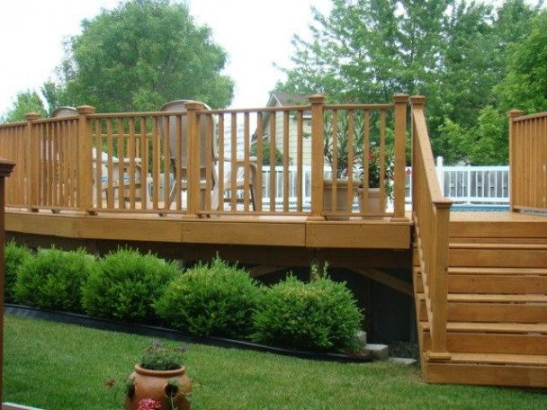 Image detail for the wood above ground pool landscape for Pool deck landscaping