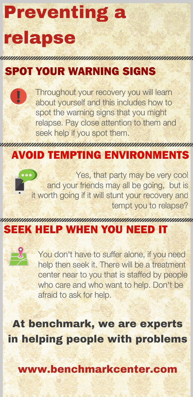 How to prevent a relapse when dealing with addiction check out http://benchmarkcenter.com