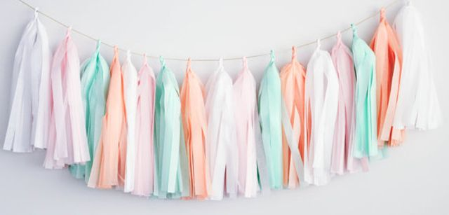 Mint, Pink and White Tissue Tassel Garland - adorable nursery decor! #nursery #DIY: Nurseries Decor, Fancy Tassels, Fancy Frill, Parties Mint, Frill Garlands, Garlands Parties, Nurseries Ideas, Mint Nurseries, Tassels Garlands