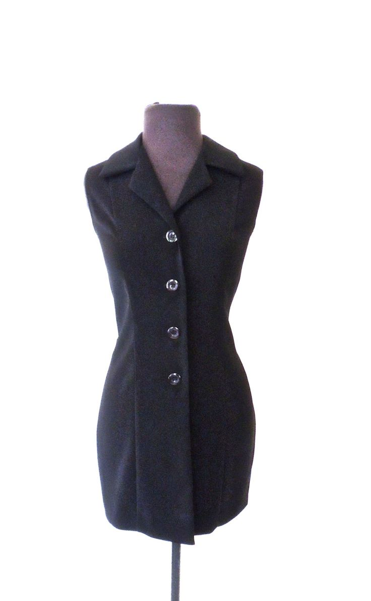 vintage tuxedo minidress - early 90s black button-front dress by mkmack on Etsy https://www.etsy.com/listing/250681051/vintage-tuxedo-minidress-early-90s-black