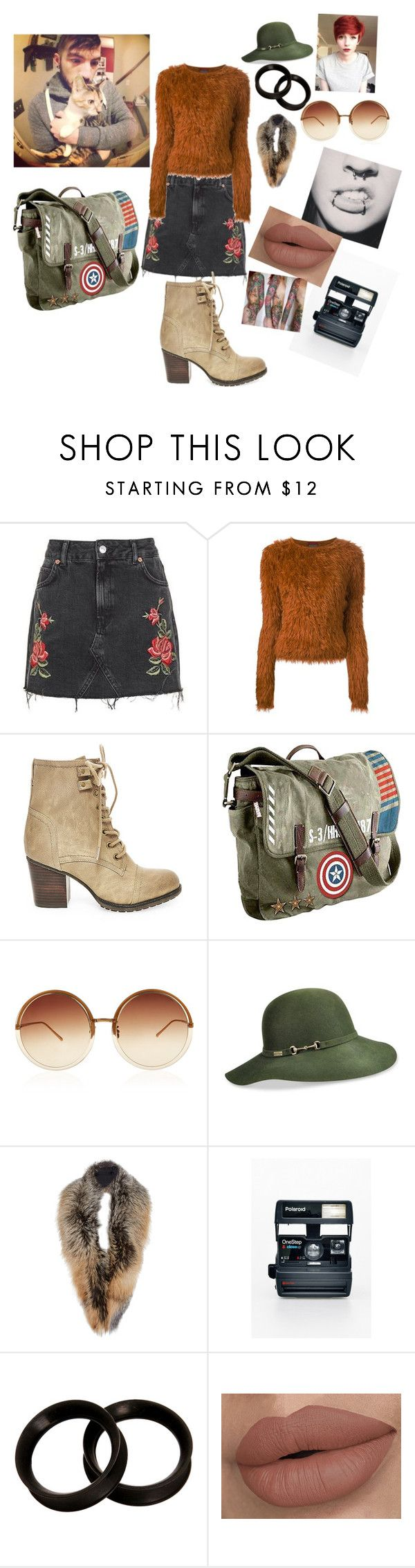 """""""If I were josh duns girlfriend"""" by carolannvh ❤ liked on Polyvore featuring Topshop, Kenzo, Steve Madden, Marvel, Linda Farrow, Betmar, Sally Lapointe and Polaroid"""