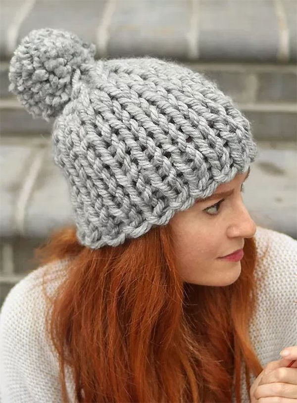 Free Knitting Pattern For Flat Knit Chunky Hat Knitting Patterns Free Hats Chunky Hat Pattern Beginner Knitting Patterns