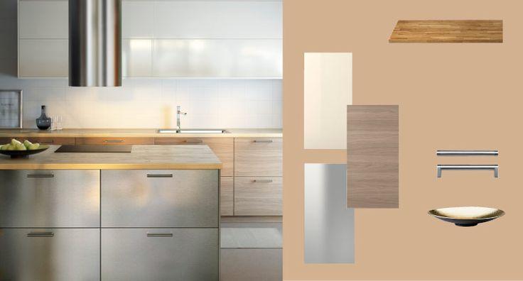 Ikea method keittiö (like the metal and grey wood cupboards)
