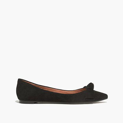 "Topped with a sleek bow, this streamlined flat is a fresh, no-fuss way to do the just-a-bit-fancy thing. Please note: When you select your size, ""H"" equals a half size. <ul><li>Suede upper.</li><li>1/4"" heel.</li><li>Leather lining.</li><li>Man-made sole.</li><li>Import.</li><li>Madewell.com only.</li></ul>"