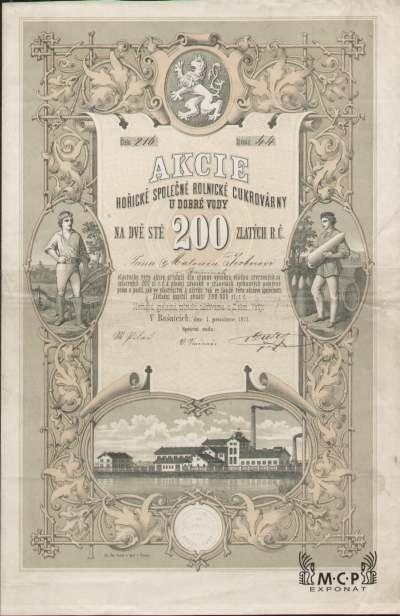 A1154 / Muzeum cennych papiru / Hořická společná rolnická cukrovárna u Dobré Vody, akcie na jméno, 200 Zl. Bašnice 1.12.1871 / AZP3CZ093