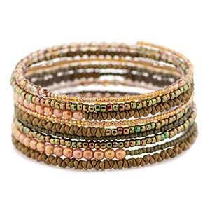 Olive Memory Wire Bracelet Kit by FusionBeads.com® | Fusion Beads