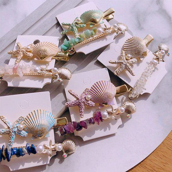 1SET Summer Beach Hair Jewelry Fashion Imitiation Pearl Shell Starfish Hairpins