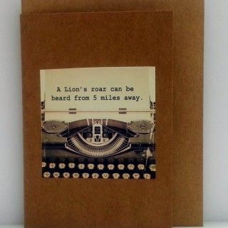 "Jude Fellows - Handmade Cards  Gift Cards with quirky facts  ""A Lion's roar can be heard from 5 miles away"""