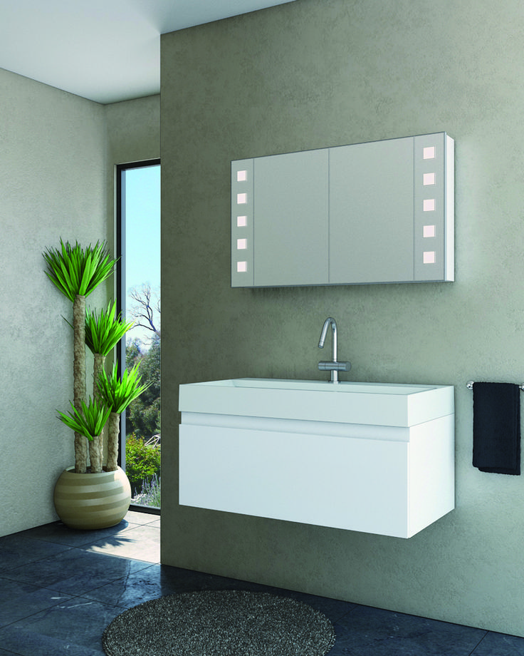 1200mm San Remo wallmounted in white gloss with a Manhatten Urban Lights shaving cabinet marquis.com.au