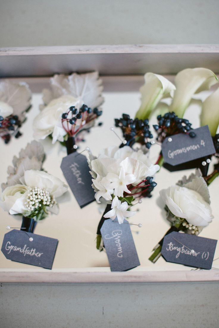 Box o' boutonnieres | Read More: http://www.stylemepretty.com/little-black-book-blog/2014/07/14/classic-casa-del-mar-wedding/ | Photography: Jasmine Star - www.jasminestar.com