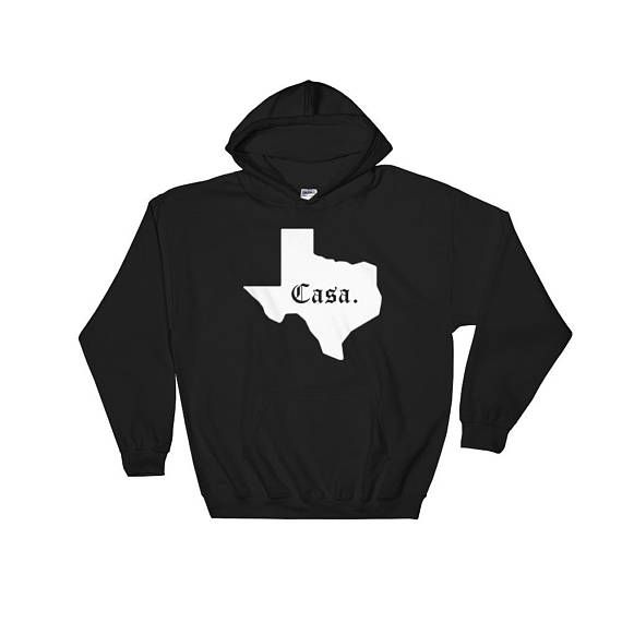 Texas Casa Hoodie in Old English  Hooded Texas Home