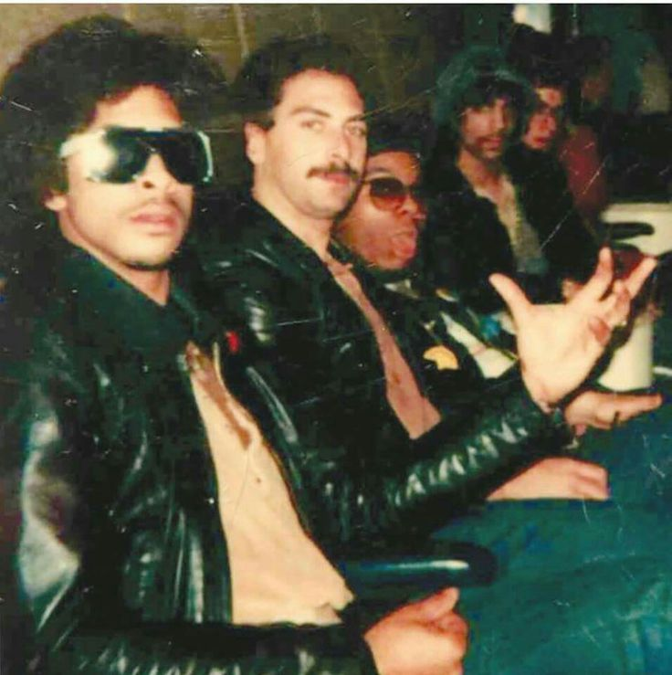 """L to R - Andre Cymone, Drummer Bobby Z., Dez Dickerson who sang """"I want to be a Modernaire in Purple Rain, Prince and Keyboardist Dr. Fink.  Funky as it gets."""