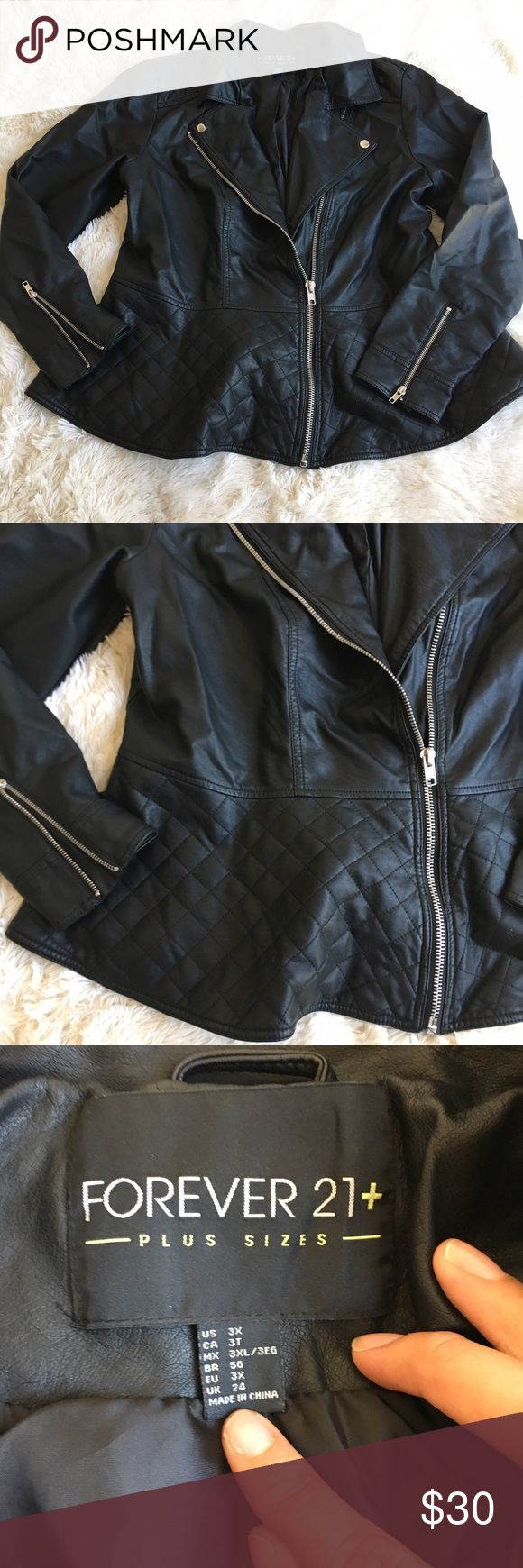 Forever 21 Faux/ Vegan Leather Peplum Moto Jacket Excellent condition. Tag is attached. Forever 21 Jackets & Coats
