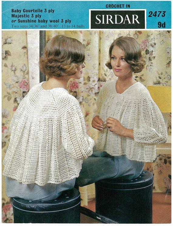 "Retro ladies crochet bed jacket vintage crochet pattern size 36 - 40"" chest PDF"